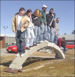 arch cast concrete with high sch students